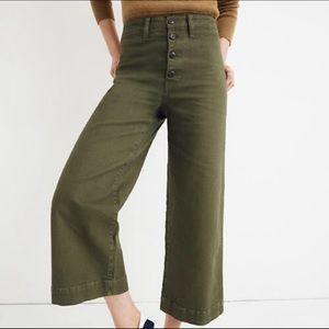 Madewell Emmett Wide-Leg Crop Pant - Olive - 26